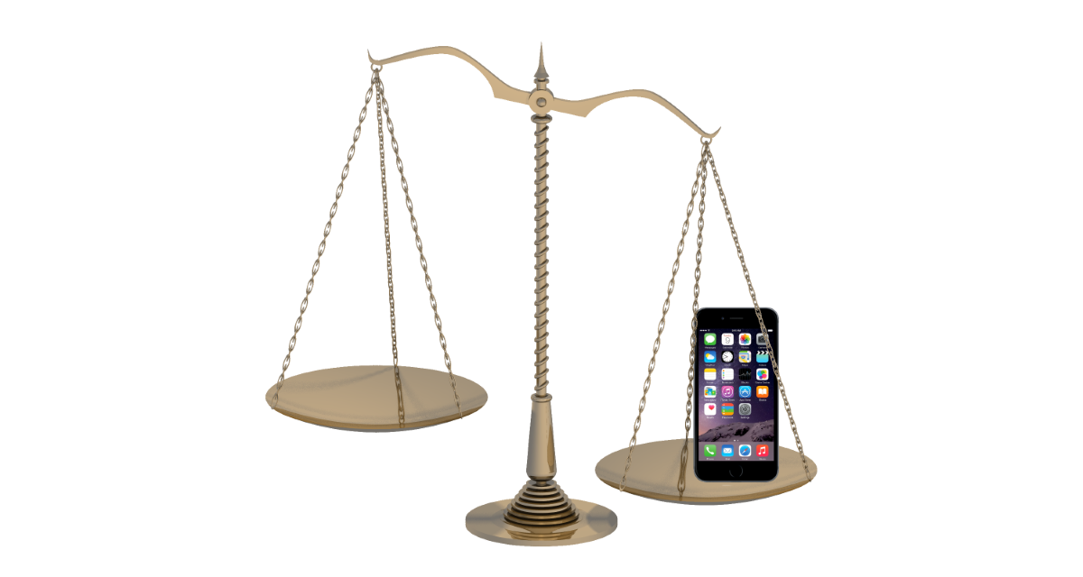 Scales of justice, with an iPhone on one side