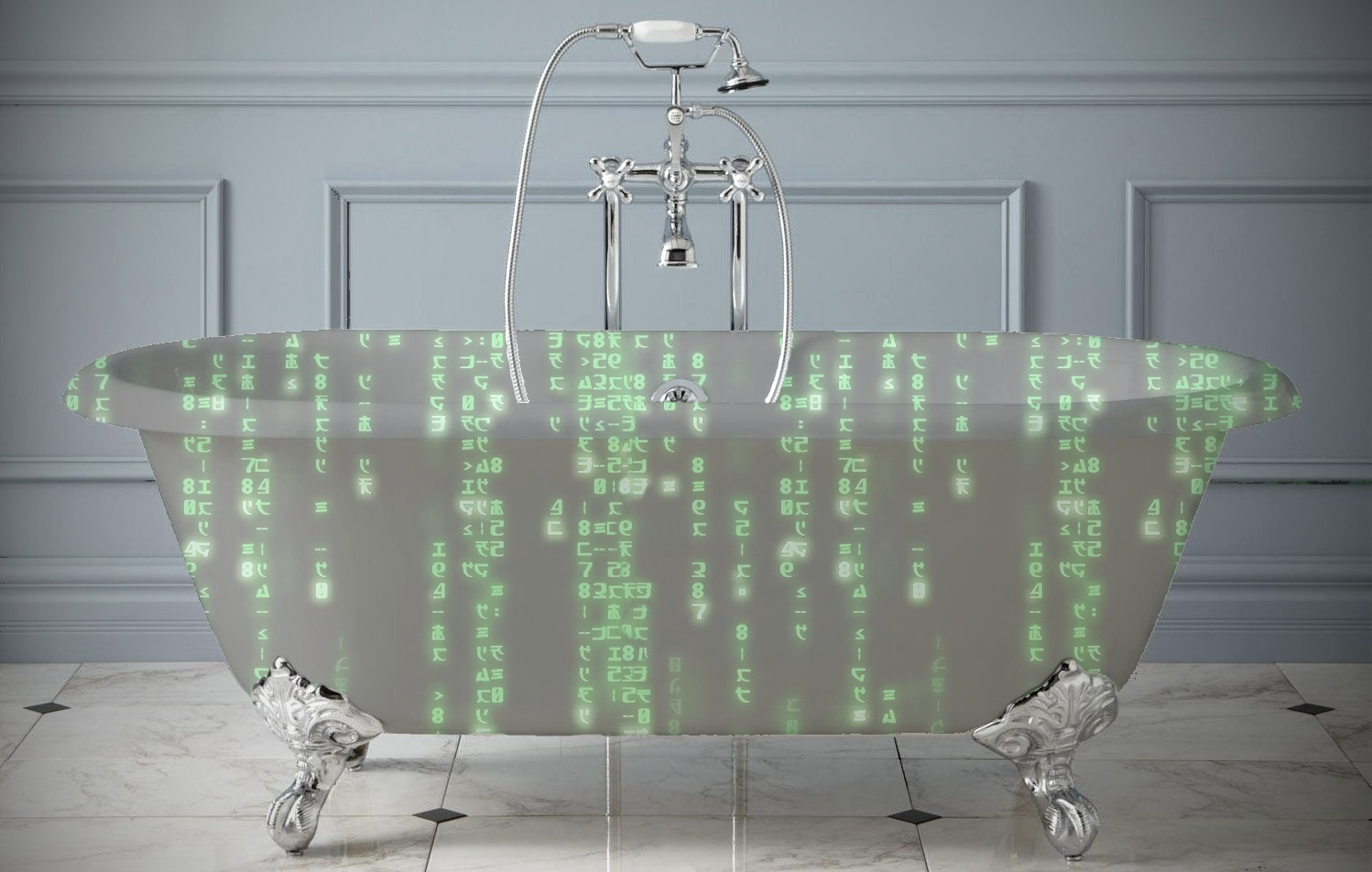 A tub covered in Matrix code