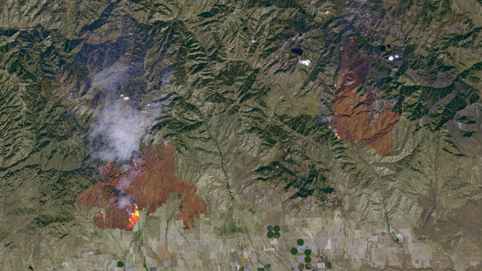 Satellite imagery of wildfires in Idaho