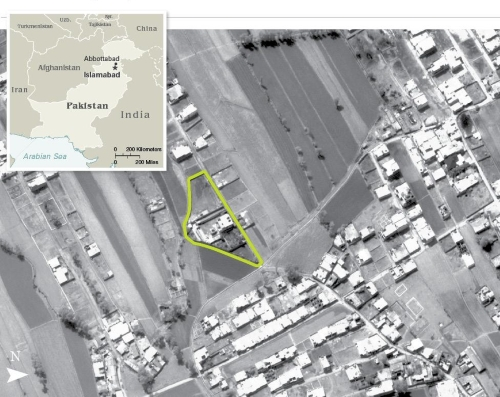 Satellite imagery via the CIA of Osama bin Ladin's compound.