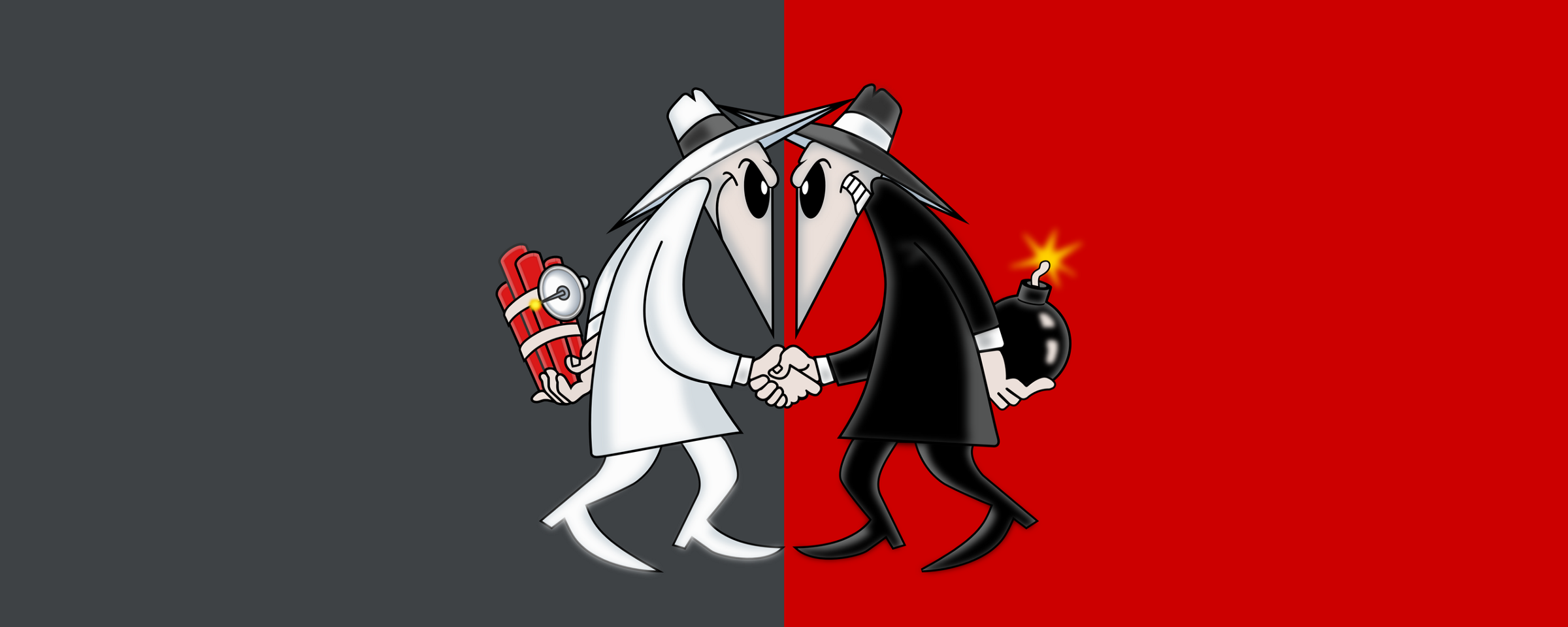"An image of the two spys from the comic ""Spy vs. Spy"" shaking hands"